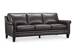 Oliver Pierce 000249000101 Clifton Leather Sofa, Charcoal