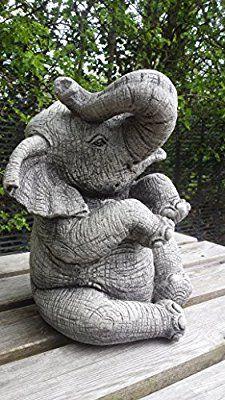 LARGE ELEPHANT (TRUNK UP) - HAND CAST STONE GARDEN ORNAMENT / STATUE / SCULPTURE
