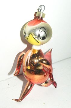 "Pink 5"" Vtg FIGURAL ANGRY Strutting DUCK Hand/Mouth Blown GLASS XMAS ORNAMENT"