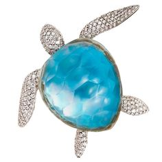 Vhernier Turtle Brooch, rock crystal, mother of pearl and diamonds