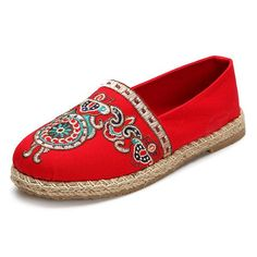 Pattern Vintage Embroidery Flax Soft Flat Loafers