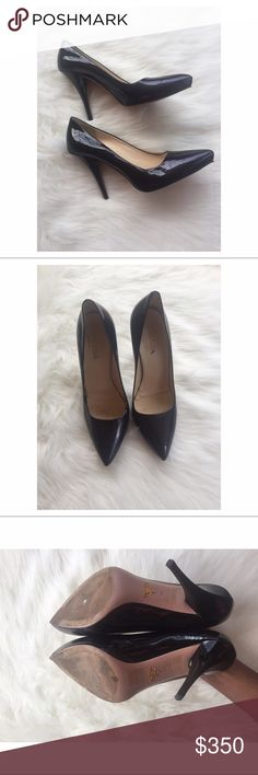 """PRICE FIRM Dark Prada Purple Leather Pumps Made in Italy  These heels measure about 4.5"""" long. The insole has been pushed down from the shoe. There are some marks on the inside. The heel has some Leather that has lifted. There are some marks on the outside of the shoe. Overall 6/10 condition. Prada Shoes Heels"""