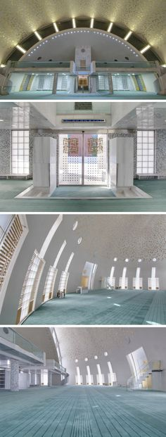 Interior view of the main prayer hall and the balcony.  Yeşil Vadi Mosque, Istanbul, Turkey.  Built in 2010 and designed by Adnan Kazmaoğlu.