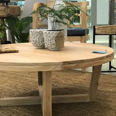Exco coffee table in natural wood. diameter which will work well in smaller living areas, or use in a group of three for larger spaces. Home Coffee Tables, Solid Wood Coffee Table, Interior Styling, Interior Decorating, Interior Design, Online Furniture, Home Furniture, Wooden Furniture, Small Living
