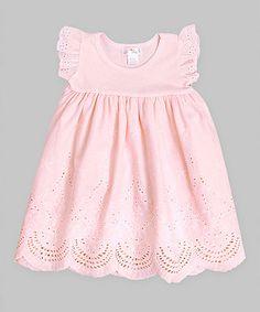 Look at this #zulilyfind! Soft Coral Eyelet Dress -Infant - Infant by Truffles Ruffles #zulilyfinds