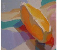fruit, still life, fresh, contemporary, brilliant, painterly, sunny, bold, colorful, patterns // Karen O'Neil