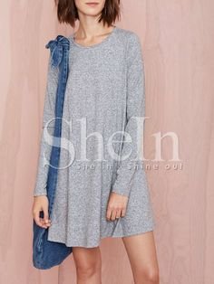 Grey Long Sleeve Casual Dress -SheIn(Sheinside) Mobile Site