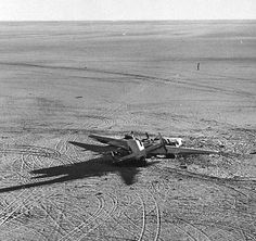 """The wreck of the famous B-24 """" Lady be Good"""". The Liberator took off from Benghazi to bomb Naples but overshot the base due to a navigation error. It was discovered by a Brit petroleum company in the 60s with its dead crew."""