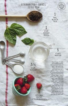 Strawberry - Basil Tea - This sounds delicious! Though I'd probably skip the sugar.unsweet tea is better :) Chai, Basil Tea, Cuppa Tea, Tea Cup, Tea Blends, Tea Recipes, Iced Tea, High Tea, Drink Recipes