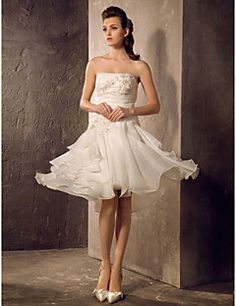 Wedding Dress A Line Knee Length Organza Strapless Little White Dress With Ruffles and Beading. Grab unbeatable discounts up to 70% Off at Light in the box using Coupons.