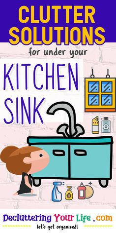 Clutter Solutions / for under your / Kitchen Sink Storage Hacks, Organization Hacks, Organizing, Diy Cleaning Products, Cleaning Hacks, Getting Organized At Home, Kitchen Sink Organization, Clutter Solutions, Under Sink