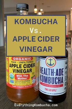 Kombucha and apple cider vinegar are two unique health fads that many people, myself included, have some questions and reservations about. For example do these two drinks actually have any benefits? How do they compare to each other? If you'd like to find out whether kombucha or apple cider vinegar is better for your health, click on the pin to read my article on it! #kombucha #applecidervinegar #health #detox Kombucha Health Benefits, Apple Cider Vinegar Health, Pink Lady Apples, Probiotic Drinks, For Your Health, Detox, How To Find Out, Good Things, Unique