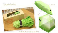 レタスそっくりの傘、「ベジタブレラ」が巷で話題になっているようです。折りたたんでいるときはどう見てもレタスですが、開くとちゃんと傘というのが...