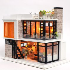 Miniature Wooden House Toy Puzzle Dollhouse Diy Kit Furniture Model Christmas Gift Toy For Children Miniatur Holzhaus Spielzeug Puzzle Dollhouse Diy Kit Möbel Modell Ch – Ezbuypay – Container House Design, Tiny House Design, Modern House Design, Modern Tiny House, Dollhouse Furniture Kits, Miniature Furniture, Modern Townhouse, Townhouse Designs, Miniature Houses