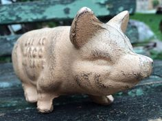 Vintage Cast Iron Pink Pig Door Stop, Excellent Condition by PaintedLadyAntiques on Etsy