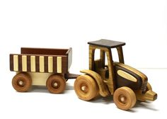 Eco Friendly & Handcrafted Wooden Farm Tractor W/ Trailer