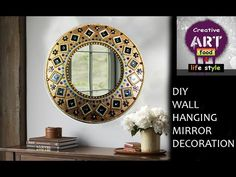 DIY Wall hanging mirror decoration, Room Decor, Art with Creativity. Wall hanging mirror decoration used waste products to make this mirror decoration material used card board color paper mirror 10 size kundans glue brass color Channel Description Me and Mirror Wall Art, Diy Mirror, Diy Wall Art, Diy Wall Decor, Sunburst Mirror, Mirror Crafts, Teen Room Decor, Nespresso, Newspaper Wall