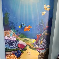 Mural for kid 's bedroom, world of nemo, under the sea, painting, hand made