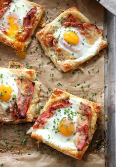 Puff Pastry Croque Madame is the simple Christmas morning breakfast that you've been searching for. Salty, savory and oh so delicious. Fun Baking Recipes, Cooking Recipes, Cooking Bacon, Oven Cooking, Cooking Oil, Egg Recipes, Cooking Ideas, Think Food, I Want Food