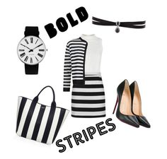 """Bold Stripes"" by xxmrs-wolfxx on Polyvore featuring Michael Kors, Topshop, Damsel in a Dress, Christian Louboutin, Rosendahl and Fallon"