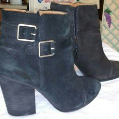 """Suede Ankle Boots Lucky Brand """"Blue Jean America"""" Leather Boots. Inside zipper closure with outside metal buckle detailing. Very slight wear at rear bottom of heel like they where leaned back in.  Nice cushioned insole. Lucky Brand Shoes Ankle Boots & Booties"""