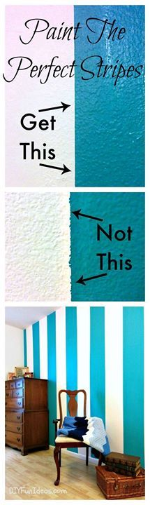 GORGEOUS STRIPED WALL & How to paint perfect stripes! Such a simple trick.  http://diyfunideas.com/how-to-paint-sharp-lines-and-perfect-stripes/