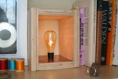 Secret Compartment Plywood Lamp  Good idea for craft room, to hide when not in use.