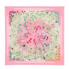 Hermès 'La Prairie' pink silk scarf