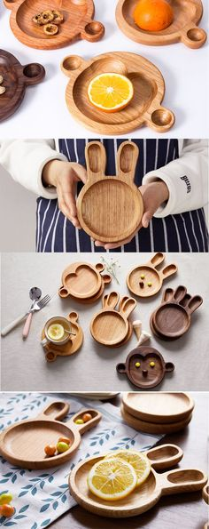 Wooden Plates, Wooden Bowls, Wooden Rabbit, Kids Plates, Appetizers For Kids, Appetizer Plates, Wooden Kitchen, Wood Toys, Serving Plates