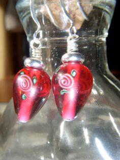 Czech Lamp Worked Glass Bead Silver Hook Earrings by Baublebys, $23.00