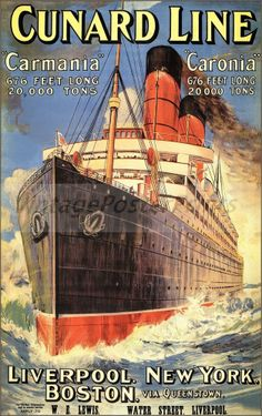 Cunard Line 1905 Ocean Liner Liverpool NY Boston http://stores.ebay.com/Vintage-Poster-Prints-and-more