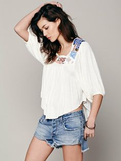 Free People Free Bird Embroidered Top, $98.00
