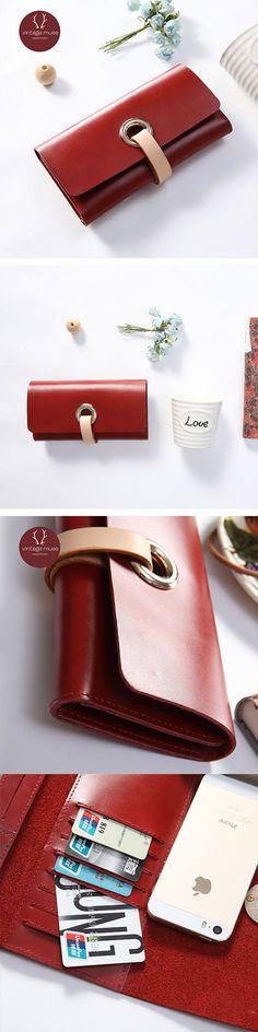 Handmade leather vintage women long wallet clutch purse wallet