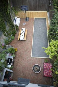 West Village backyard, second-floor view; Petanque court (boules) - shorter and a bit wider than bocce court. Simple Garden Designs, Modern Garden Design, Patio Design, Backyard Games, Backyard Patio, Backyard Ideas, Landscape Plans, Landscape Design, Bocce Ball Court