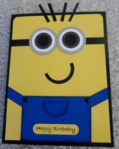 Stampin Up Card Kit - Minion Birthday - Set of 4 Cards Minion Birthday Card, Minion Card, Birthday Cards For Boys, Birthday Kids, Boy Cards, Kids Cards, Cute Cards, Quick Cards, Punch Art Cards
