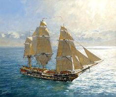 Geoff Hunt, the current President of the Royal Society of Marine Artists, is known to millions of readers worldwide as the artist reponsible for the covers of Patrick O'Brian's Aubrey-Maturin series of historical novels. Nautical Artwork, Old Sailing Ships, Man Of War, Ship Paintings, Remo, Wooden Ship, Ship Art, Tall Ships, Model Ships
