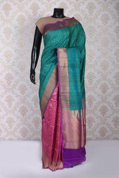 Rani pink and antique gold banarasi silk dazzling saree with zari weaved pallu
