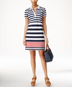 Tommy Hilfiger Striped Polo T-Shirt Dress