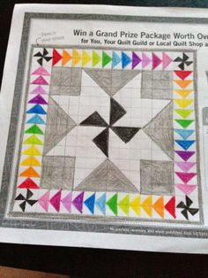 Not a pattern, just a drawing. I am loving the monochromatic center with rainbow border!
