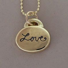 14k Gold Love Necklace with Custom Initials or Heart by esdesigns