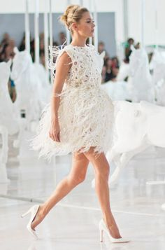 White Party Dress Feather Fashion Week Runway Beauty Womens