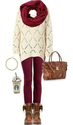 White sweater, burgundy pants and scarf