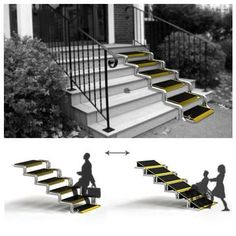 Wheelchair ramp -- this style converts from a ramp to a set of stairs. Cool idea, just curious about the steepiness of the ramp Handicap Accessible Home, Wheelchair Accessories, Handicap Accessories, Architecture Design, Adaptive Equipment, Aging In Place, Disability, Transformers, New Homes