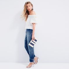 J.Crew Looks We Love: women's Apiece Apart™ Milos smocked top, Collection patchwork indigo pant, woven fringe earrings, woven striped clutch and iridescent ankle-strap high-heel sandals.
