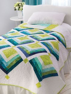 Quick & Easy Bed Quilt Patterns - This sophisticated design goes together easily and is made using just 20 fat quarters and some yardage. Finished size is 60 x 80 Twin Quilt Pattern, Bed Quilt Patterns, Jelly Roll Quilt Patterns, Patchwork Patterns, Patchwork Blanket, Crazy Patchwork, Bed Quilting Designs, Quilting Projects, Quilting Ideas