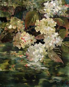 Lake Art, Flower Quilts, Textile Fiber Art, Landscape Quilts, Watercolor Flowers, Watercolour, Painting Lessons, Fabric Art, Art Forms