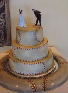 Baseball themed baseball wedding cake