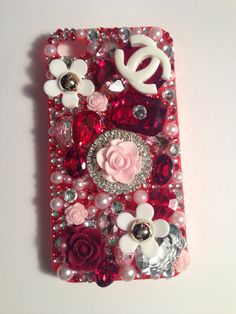 Red and Pink iPhone 4/4s bling 3D phone case  on Etsy, $35.00