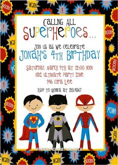 Super Hero Party invitations