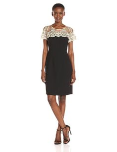 Amazon.com: Chetta B Women's Sheath Dress with Embroidered Gold Lace: Clothing